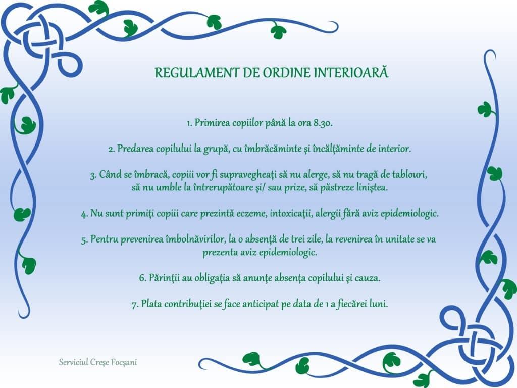 Regulament de ordine interioara.